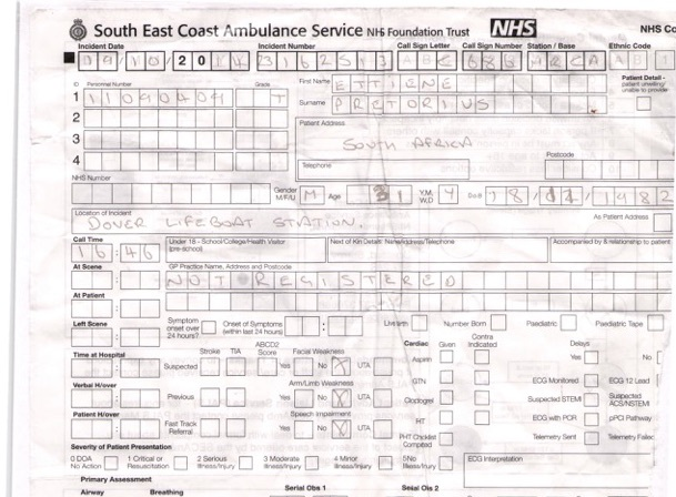 South East Coast Ambulance Service form